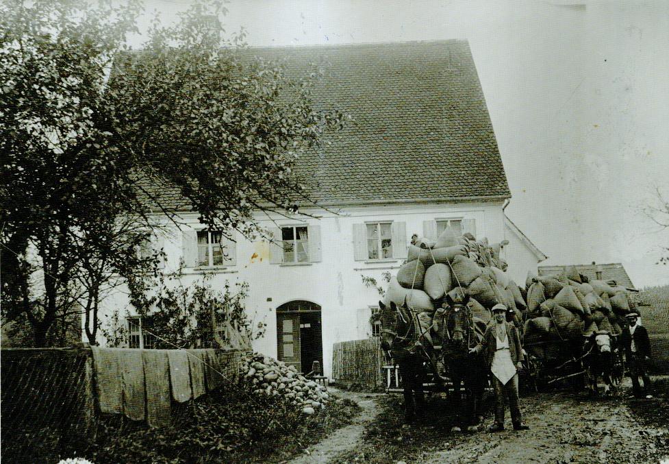 Mehltransport mit Pferdegespann nach Augsburg vor der Bäckerei Köbler